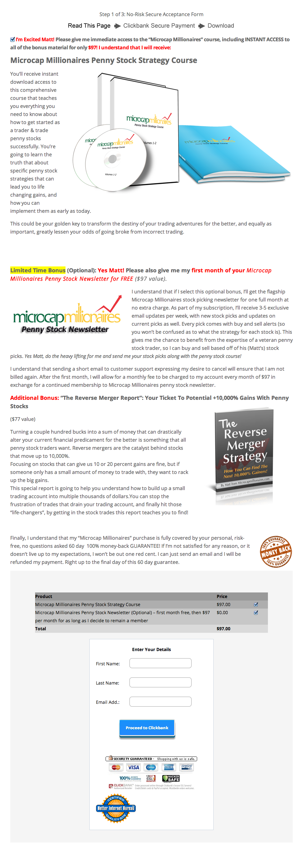 Step 1 For Penny Stock Strategy & Newsletter Checkout